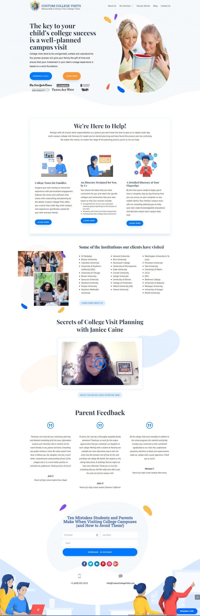 Custom College Visits Homepage