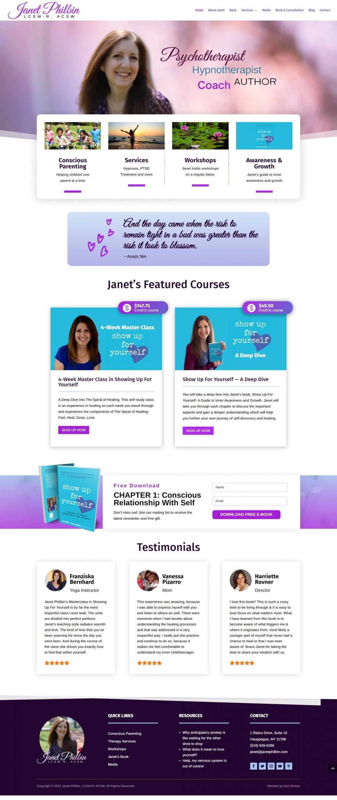 Janet Philbin,homepage
